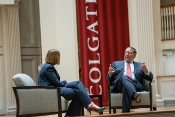 Former Secretary of Defense and Director of the CIA Leon Panetta addresses members of the Colgate Community during a visit to the campus for Global Leaders