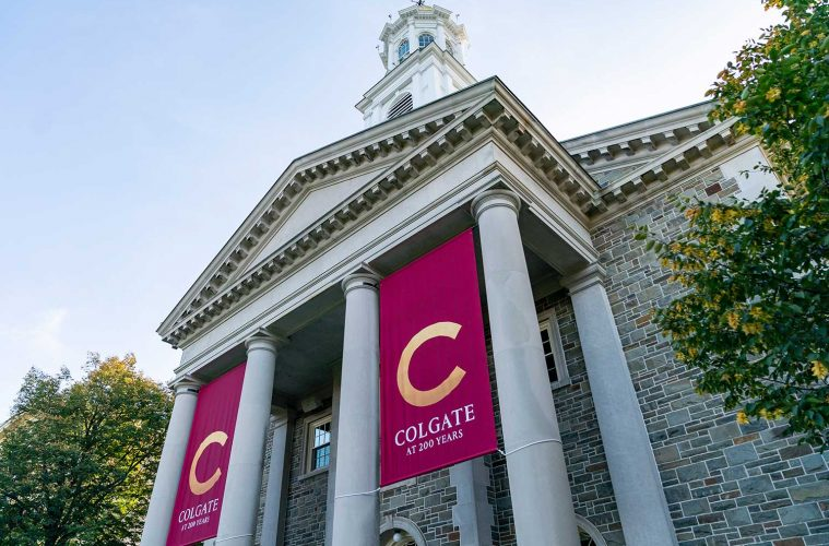 Colgate at 200 Years banners hang from Memorial Chapel columns