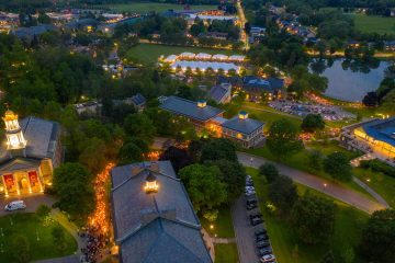 Torchlight procession from above