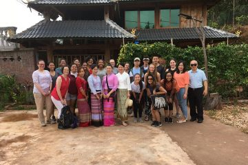 Colgate students with homestay families in Mannua Village